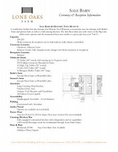 Info Sheet for the Sale Barn
